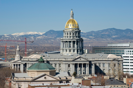 Denver State Capitol Building With Mountain View In Adobe 1998 Color